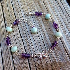 Natural Amethyst & Amazonite Bow Bracelet 925 SS